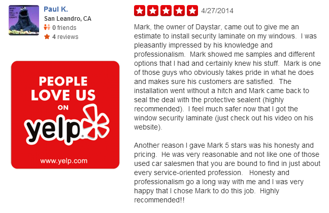 Oakland Home Window Tinting Yelp Review